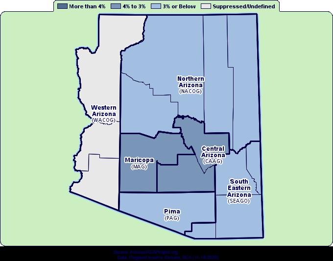 Map Of Eastern Arizona.Arizona Population Growth By Decade